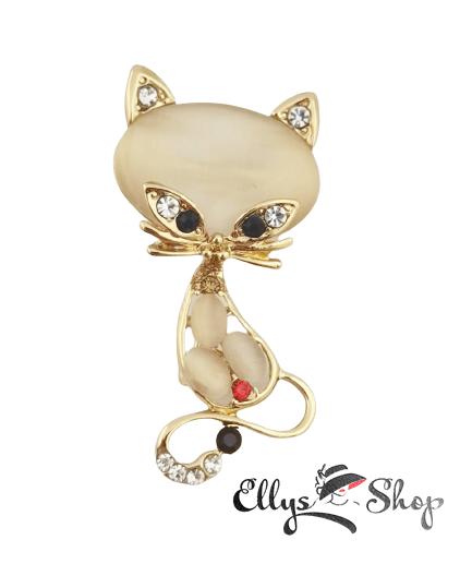 Brosa eleganta pisica cu strasuri colorate