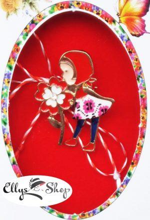 Brosa martisor fetita cu floare