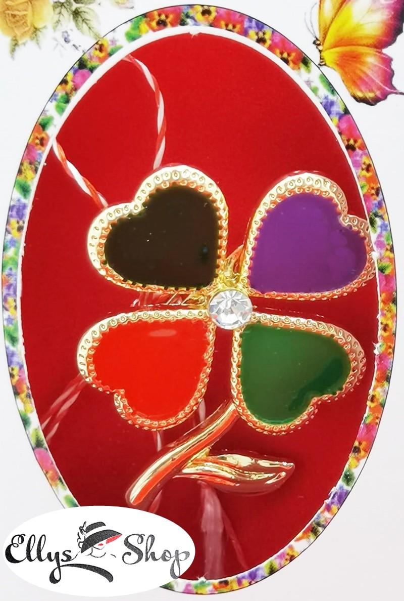 Brosa martisor trifoi petale inimi colorate