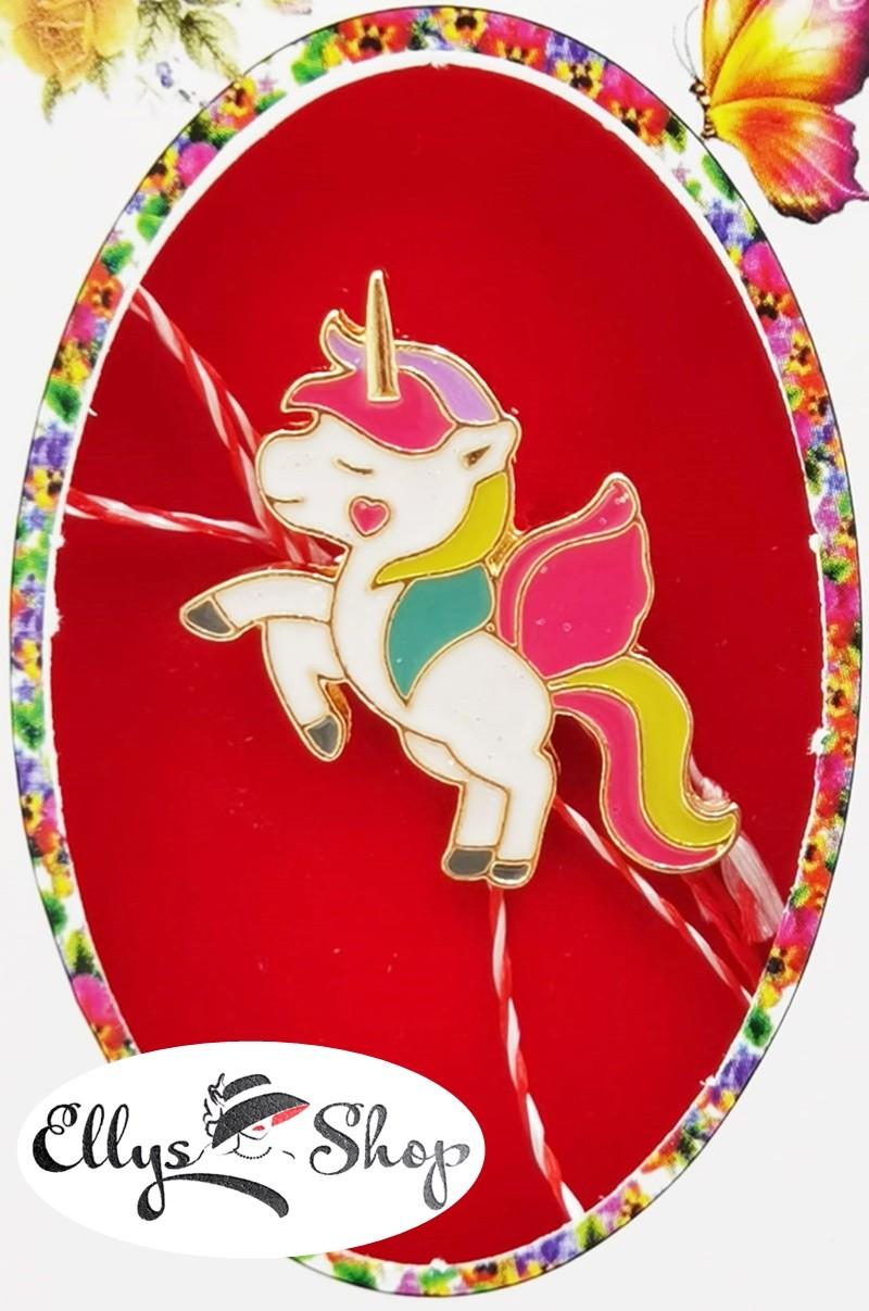 Brosa martisor unicorn rainbow