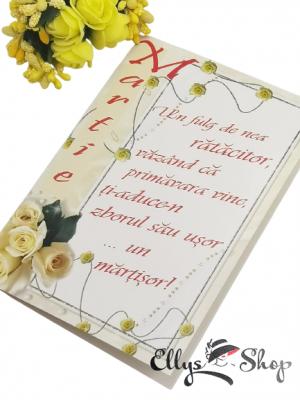 Felicitare cu plic Martie rama trandafiri si mesaj