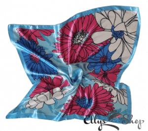 Batic dama subtire imprimeu floral pe fond bleu cod 4260