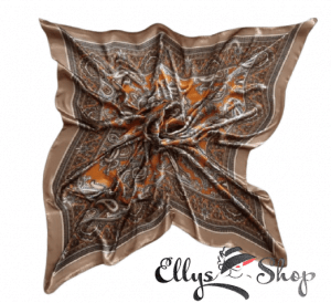 Batic mic subtire de dama multicolor alb, maro, orange, negru cod 4258