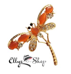 Brosa libelula cu pietre portocalii