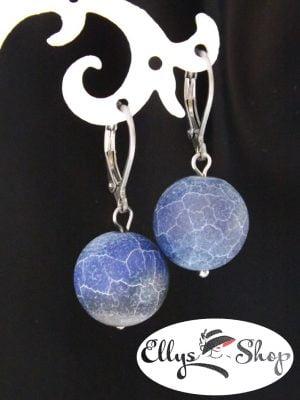 Cercei handmade albastri cu agate efect inghetat si inox