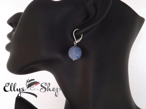 Cercei handmade albastri cu agate efect inghetat si inox detaliu
