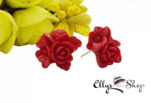 Cercei handmade din rasina buchet de flori rosii