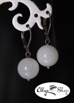 Cercei handmade leverback albi cu piatra lunii