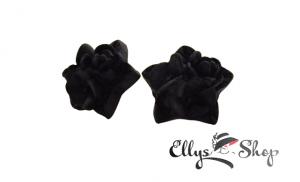Cercei handmade negri flori rasina