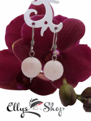 Cercei handmade pietre cuart roz fatetat si accesorii din inox