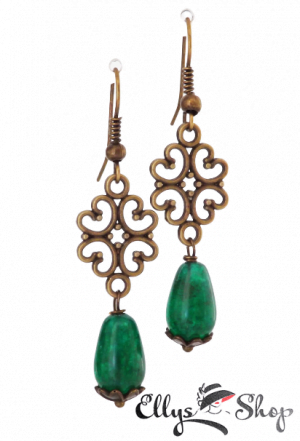 Cercei handmade verzi cu pietre jad si accesorii filigranate bronz