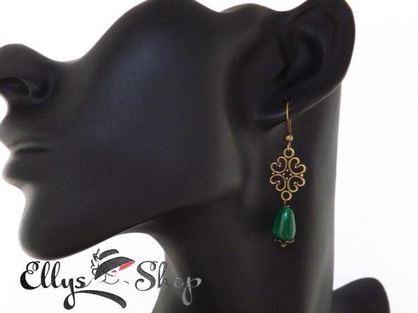 Cercei handmade verzi cu pietre jad si accesorii filigranate bronz detaliu 1