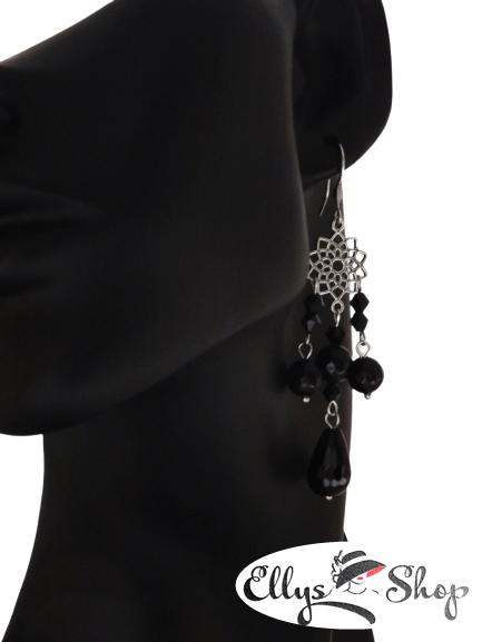 Cercei lungi chandelier negri cu pietre onix