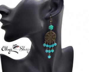 Cercei lungi chandelier pietre jad turcoaz si trandafir din rasina