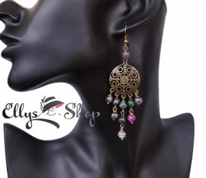 Cercei lungi chandelier pietre ruby zoisit si accesorii rotunde bronz