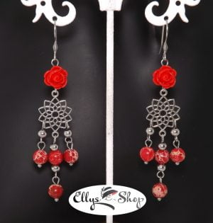 Cercei rosii lungi tip candelabru pietre jasp imperial - regalit