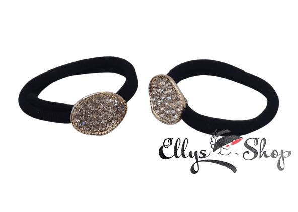 Elastic pentru par negru accesoriu oval cu strasuri