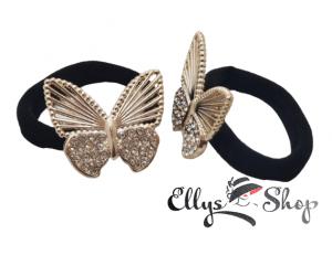 Elastic pentru par negru fluture auriu cu strasuri