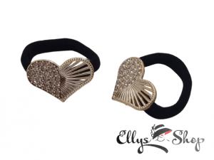 Elastice par negre cu accesorii aurii cu strasuri inimi