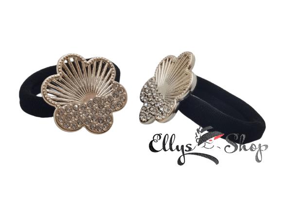Elastice par negre cu accesorii flori aurii si strasuri