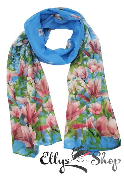 Esarfa dama subtire cu flori de magnolii roz pe fond bleu cod 4254