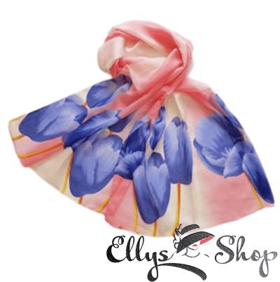 Esarfa dama subtire cu lalele albastre pe fond degrade roz