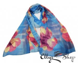 Esarfa subtire albastra cu flori mari grena cod 4273