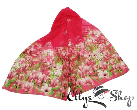 Esarfa subtire roz imprimeu flori magnolie cod 4274