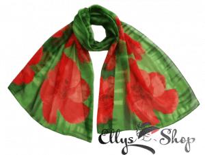 Esarfa subtire verde cu flori rosii mari cod 4272