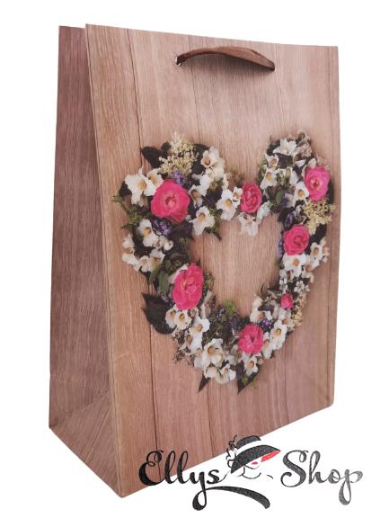Punga cadou model vintage cu flori in forma de inima cod 4200