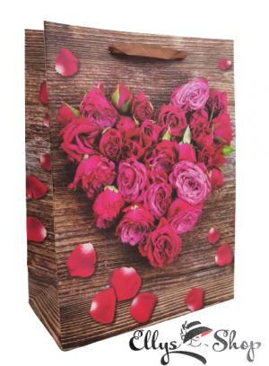 Punga pentru cadou model trandafiri forma inima cod 4193