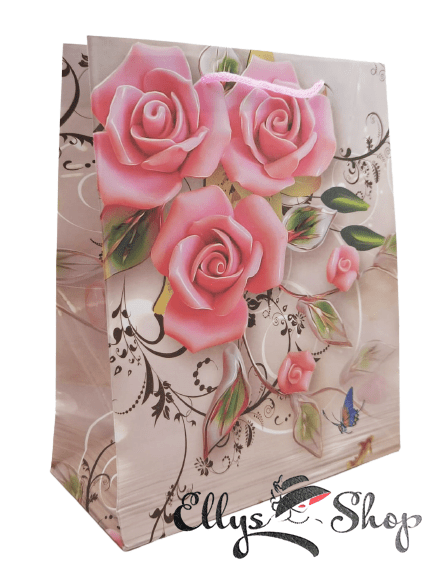 Sacosa pentru cadou model trandafiri si fluture