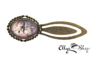 Semn de carte metalic personalizat poza balerina in rochie neagra