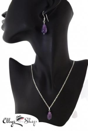 Set bijuterii handmade pandantiv si cercei ametist lacrimi