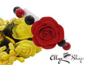Bratara handmade pietre onix si scoica cu trandafir din lut polimeric rosu