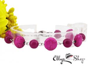 Bratara handmade pietre semipretioase roz howlit si jad