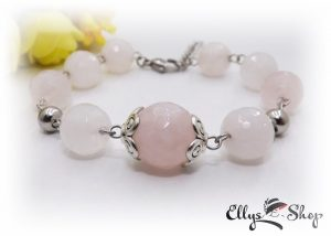 Bratara pietre semipretioase cuart roz si accesorii argintii inox
