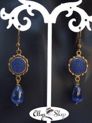 Cercei albastri pietre lapis lazuli
