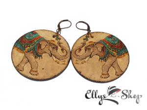 cercei din lemn elefanti