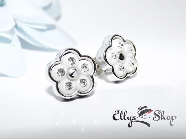 Cercei flori albe cu strasuri transparente