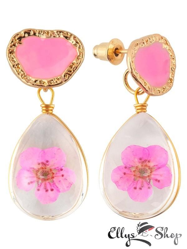 Cercei flori naturale roz in rasina