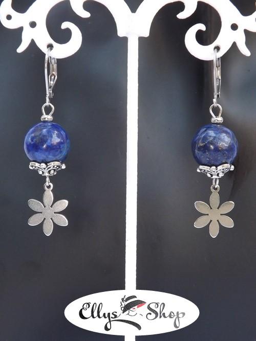Cercei pietre lapis lazuli si accesorii flori inox