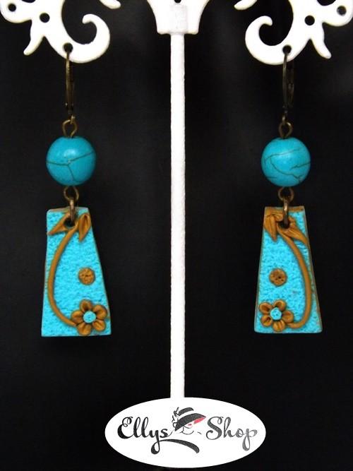Cercei handmade pietre turcoaz si lut polimeric