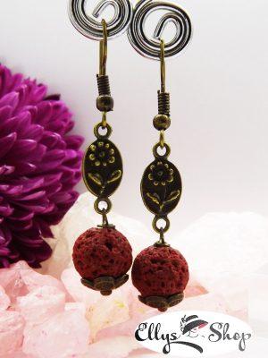 Cercei lava grena accesorii bronz flori