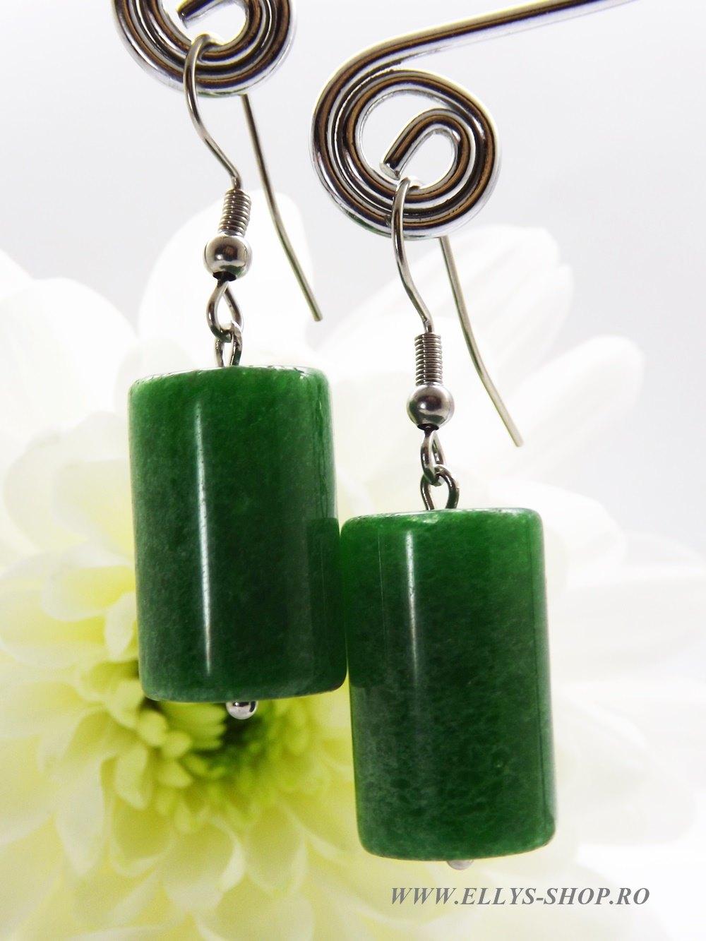 Cercei verzi pietre jad tubular