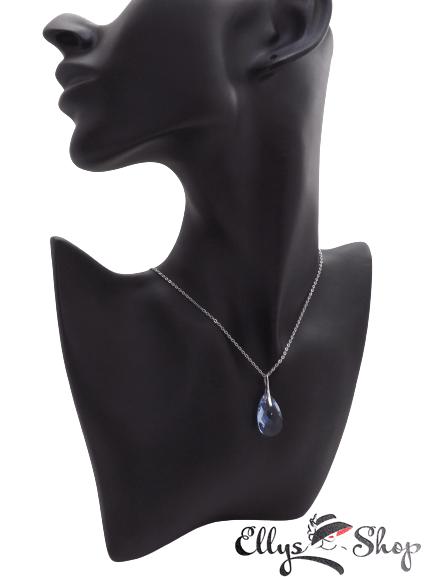 Colier pandantiv swarovski bleu