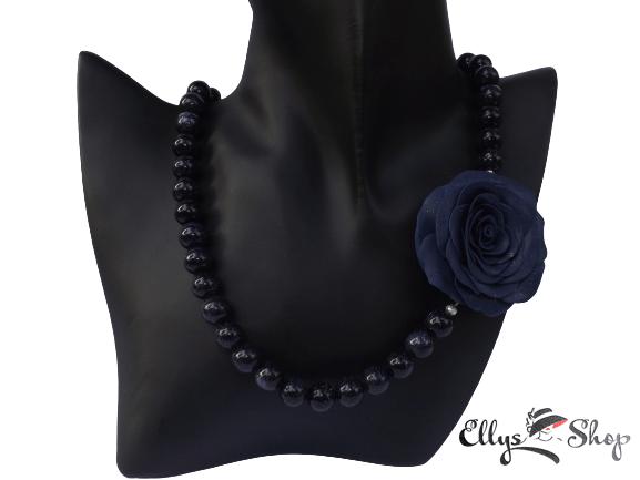 Colier handmade trandafir si pietre semipretioase blue goldstone