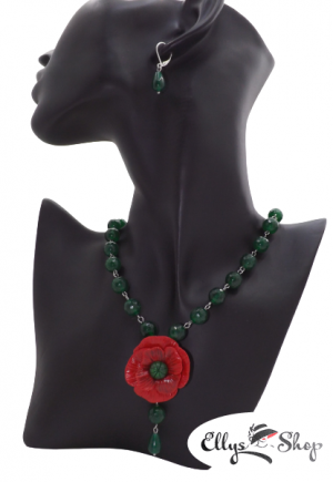 Set bijuterii handmade agate verzi si floare de mac din lut polimeric