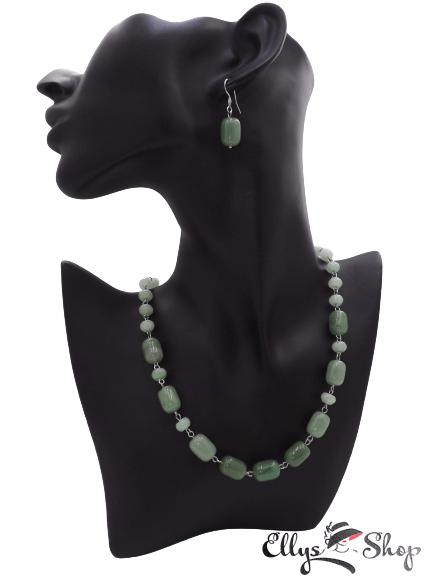 Set bijuterii handmade pietre semipretioase verzi aventurin