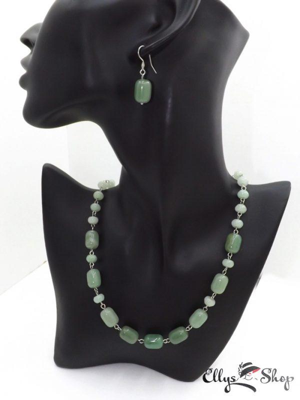 Set bijuterii handmade pietre semipretioase verzi aventurin detaliu
